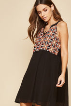 Load image into Gallery viewer, Black Black Sleeveless Dress with Floral Embroidery