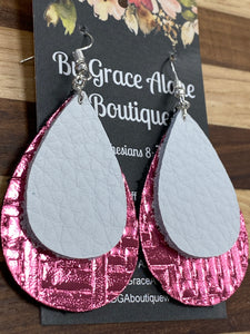 BGA Gems - Double Stack Tear Drops - Metallic Pink Basket Weave with Pebbled White
