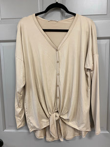 Sand Tie Front Long Sleeve Tunic