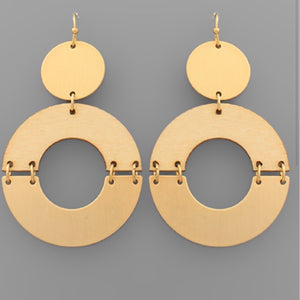 Gold Circle Earrings with Natural Wood Accents