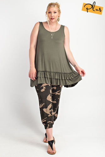 Sleeveless Cami with Ruffle Hem - Jungle Green