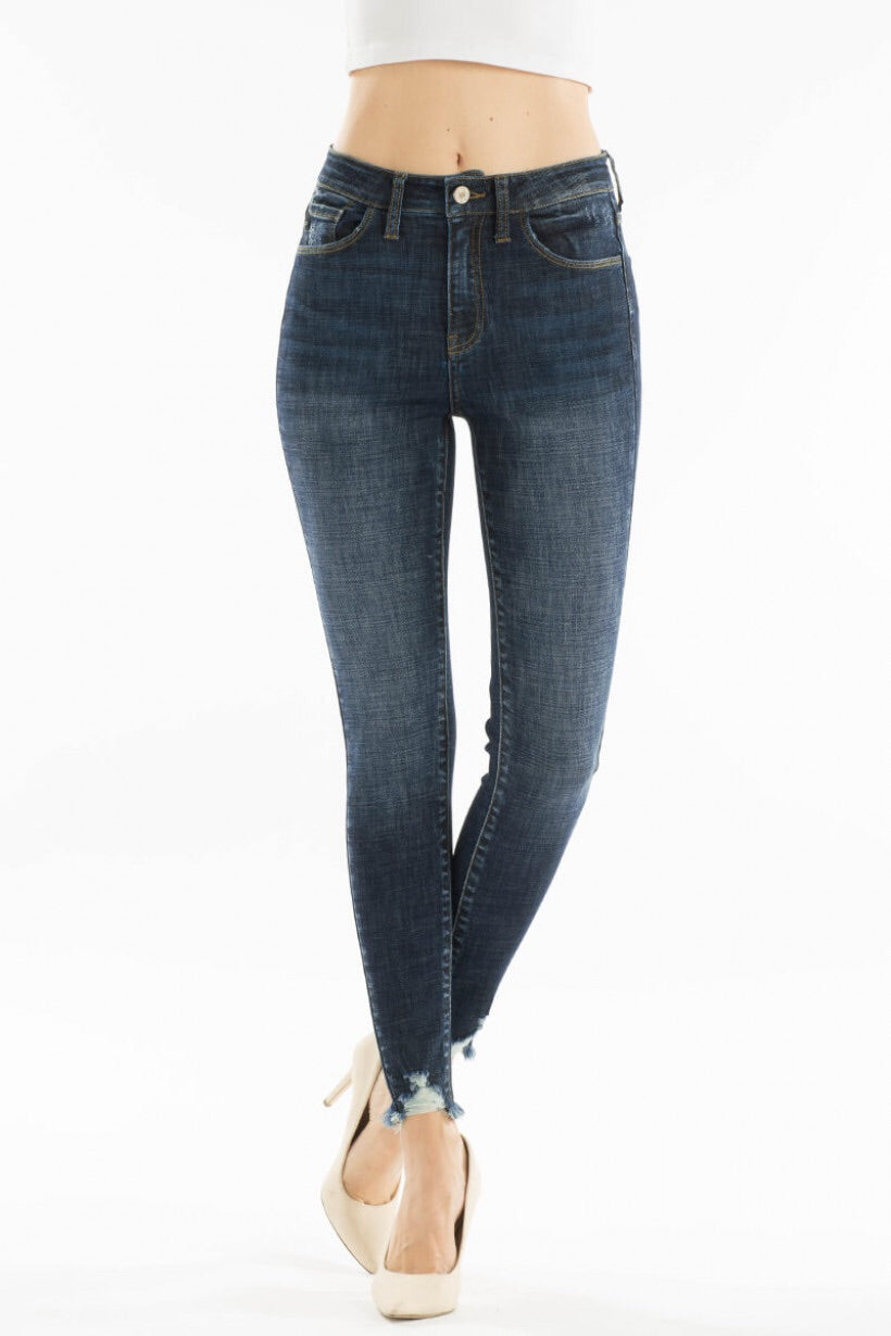 High Rise Super Skinny Jeans with Frayed Bottom - KanCan