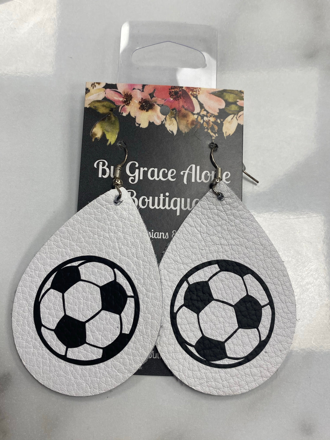White Tear Drop with Soccer Ball