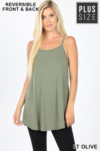 V-Neck or Scoop Reversible Cami- Light Olive