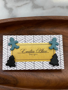 Emilia Alice Designs - Set of 2 Clay Stud Earrings - Teal Ginger Man & Black Tree