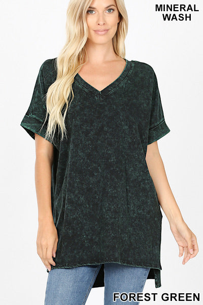 Mineral Wash Short Sleeve Top with High Low Hem - Forest