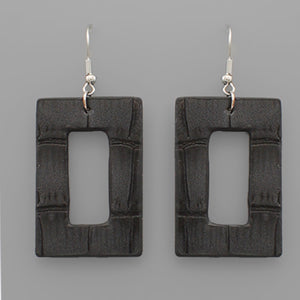 Black Rectangular Cut Out Faux Leather Earrings