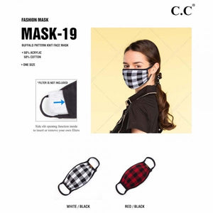 CC Brand Ribbed Knit Fall Winter Face Mask with Filter Insert - Black. & White Buffalo Plaid