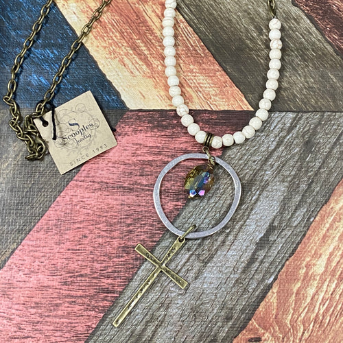 Scooples - Gold Necklace with a Pearl and a Rustic Cross Accent