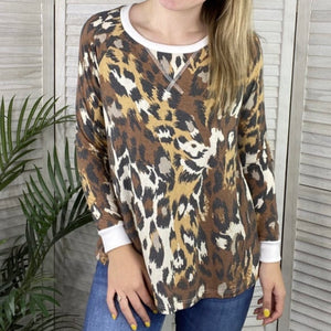 Cheetah Print Brown, Tan, Taupe and Black Top
