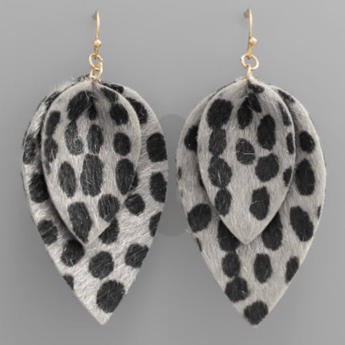 Leopard Double Tear Drop Earrings - Grey