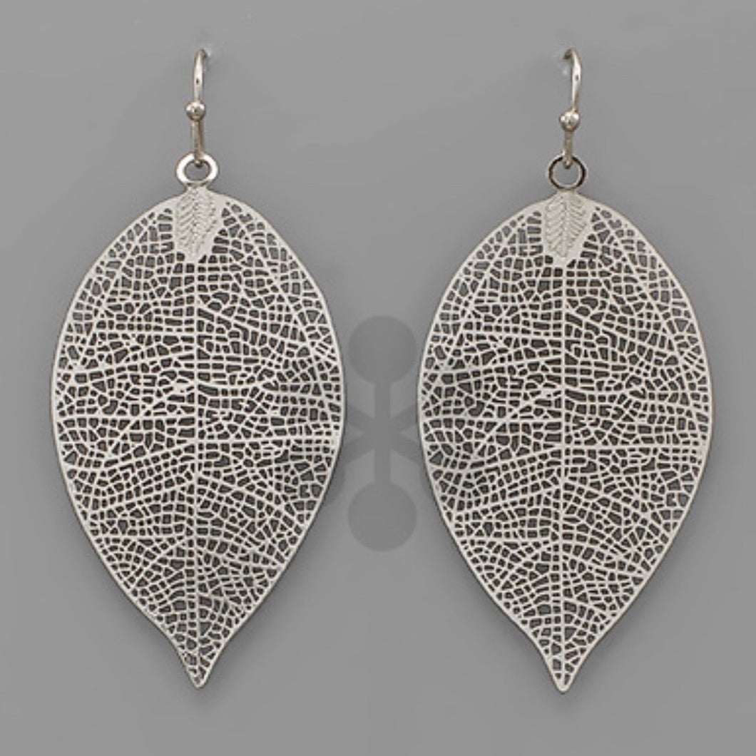 Silver Skeletonized Leaf Earrings