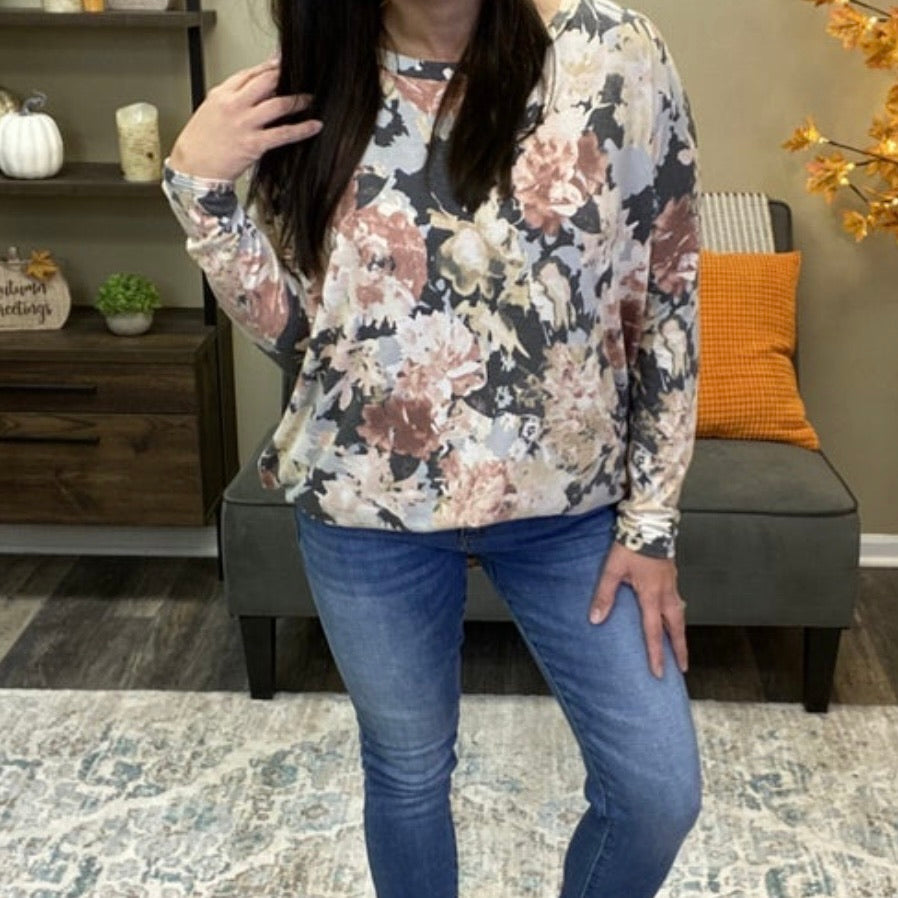 Grey Floral Top - Oversized Comfy Top