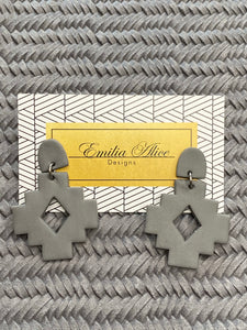 Emilia Alice Designs - Clay Earrings - Aztec - Dark Grey