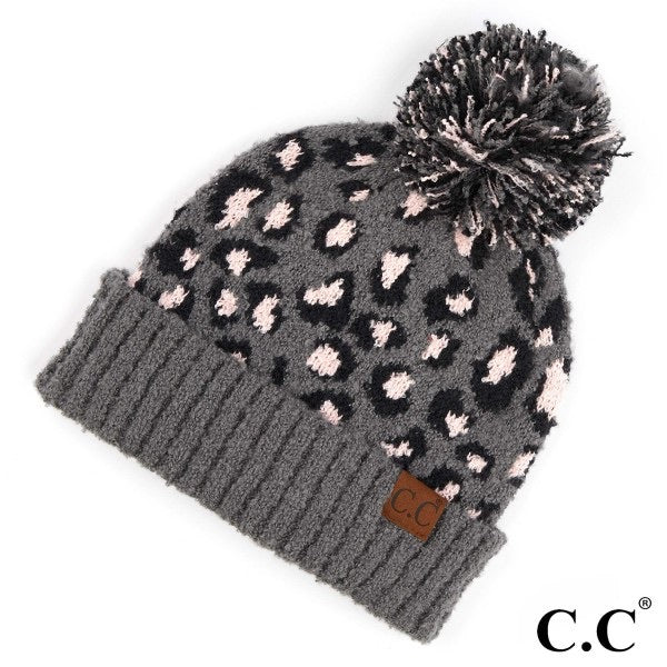 CC Adult Beanie with Pom - Grey with a hint of Pink Cheetah Detail