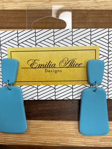 Emilia Alice Designs - Clay Earrings -Light Teal Dangle Studs