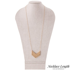 Long Necklace with V Shaped Metal Designs - Silver & Gold