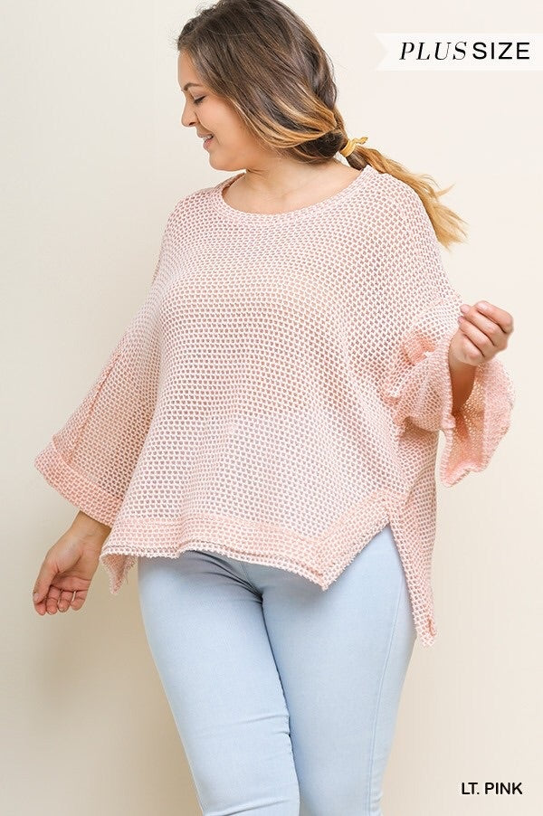 Light Pink High Low Waffle Knit Top