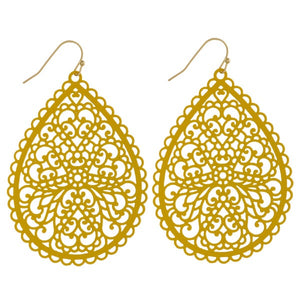 Mustard Feisty Filagree Earrings