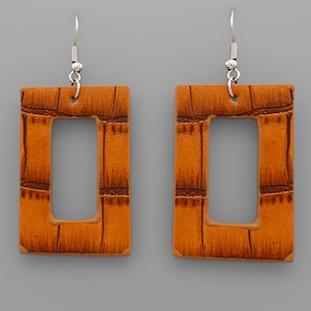 Light Brown Rectangular Cut Out Faux Leather Earrings