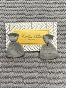 Emilia Alice Designs - Clay Earrings - Two Tiers in Marbled Grey