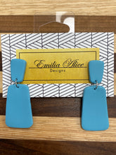 Load image into Gallery viewer, Emilia Alice Designs - Clay Earrings -Light Teal Dangle Studs