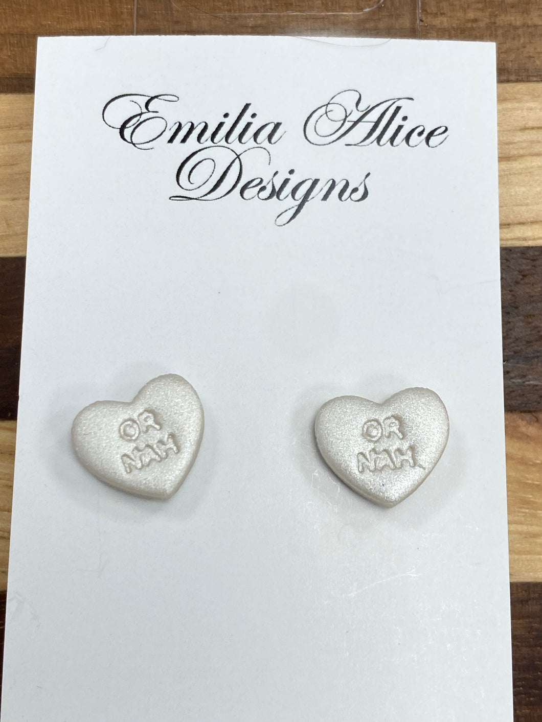 Emilia Alice Designs - Clay Earrings -Pearl Shimmer Studs -OR NAH
