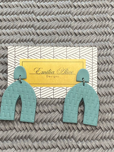 Emilia Alice Designs - Clay Earrings - Arch in Muted Teal