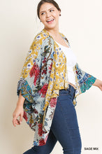 Load image into Gallery viewer, Sage Mix Print Ruffle Sleeve Kimono with Side Slits