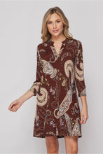 Load image into Gallery viewer, Brown and Mauve Paisley Gabby Dress