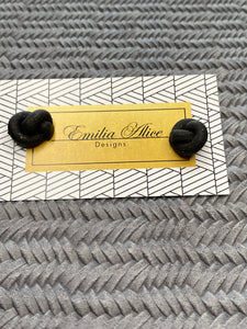 Emilia Alice Designs - Clay Stud Earrings -Black Knot