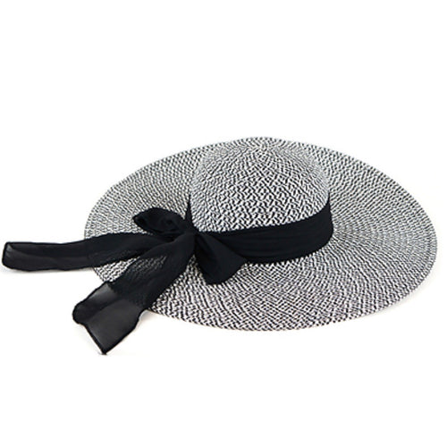 Black and White Floppy Straw Hat with a Black Bow