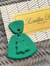 Load image into Gallery viewer, Emilia Alice Designs - Clay Earrings - Two Tiers with Christmas Tree - Bright Green