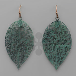 Deep Teal Skeletonized Leaf Earrings