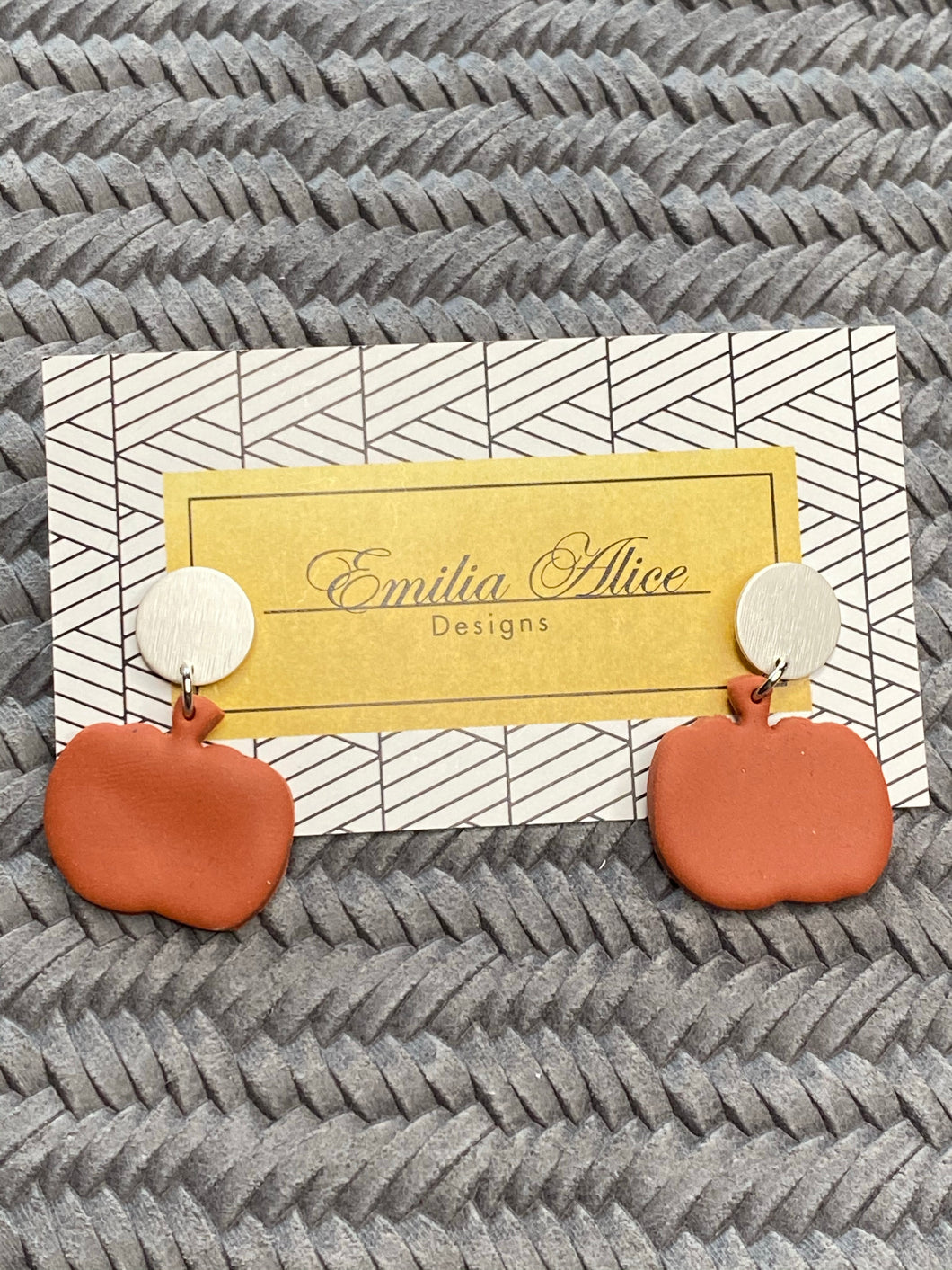 Emilia Alice Designs - Clay Earrings - Pumpkins on a Silver Stud