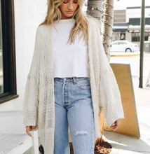 Load image into Gallery viewer, Knit Netted Light Weight Cardigan - Cream