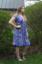 Load image into Gallery viewer, Tribal - Blue and Lilac Pleated Dress with Fringe Detail
