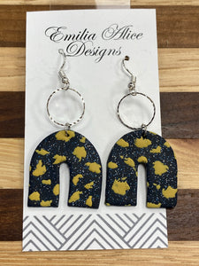 Emilia Alice Designs - Clay Earrings -Navy Glitter with Gold Detail Horseshoe