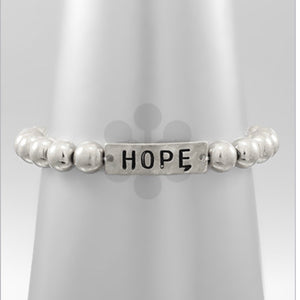 Silver Beaded Bracelet with HOPE