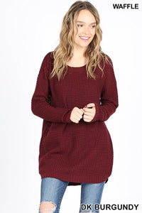 Dark Burgundy Waffle Knit Hi Low Long Sleeve Sweater