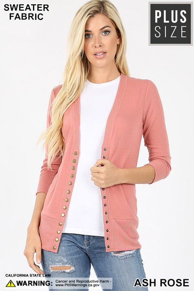 Snap Button Front 3/4 Sleeve Cardigan - Ash Rose