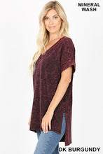 Load image into Gallery viewer, Dark Burgundy Mineral Wash Short Sleeve Top with High Low Hem