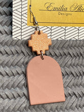 Load image into Gallery viewer, Emilia Alice Designs - Clay Earrings - Rose Gold Cross Dangle
