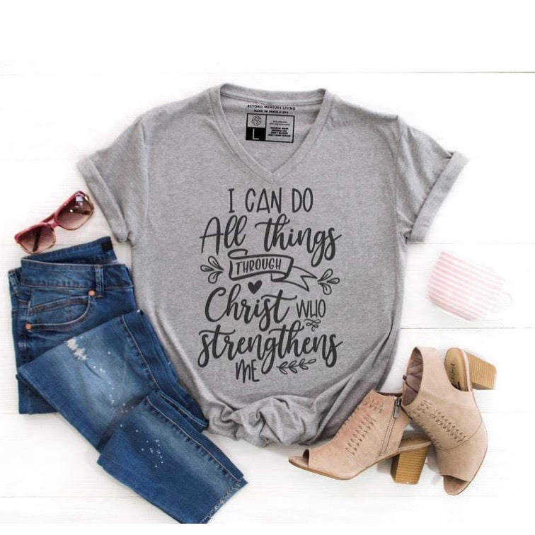 I Can Do All Things Through Christ - Heathered Grey V Neck