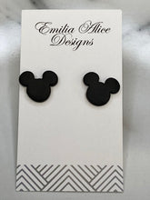 Load image into Gallery viewer, Emilia Alice Designs - Clay Earrings -Mickey Mouse Studs - Black