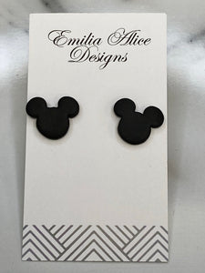 Emilia Alice Designs - Clay Earrings -Mickey Mouse Studs - Black