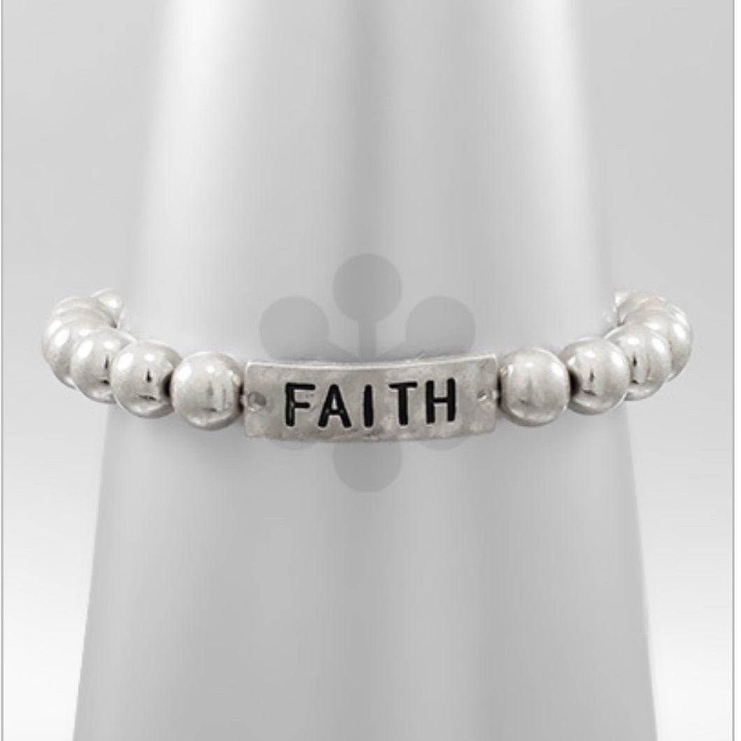 Silver Beaded Bracelet with FAITH