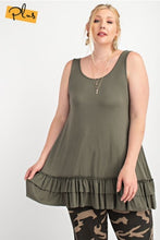 Load image into Gallery viewer, Sleeveless Cami with Ruffle Hem - Jungle Green