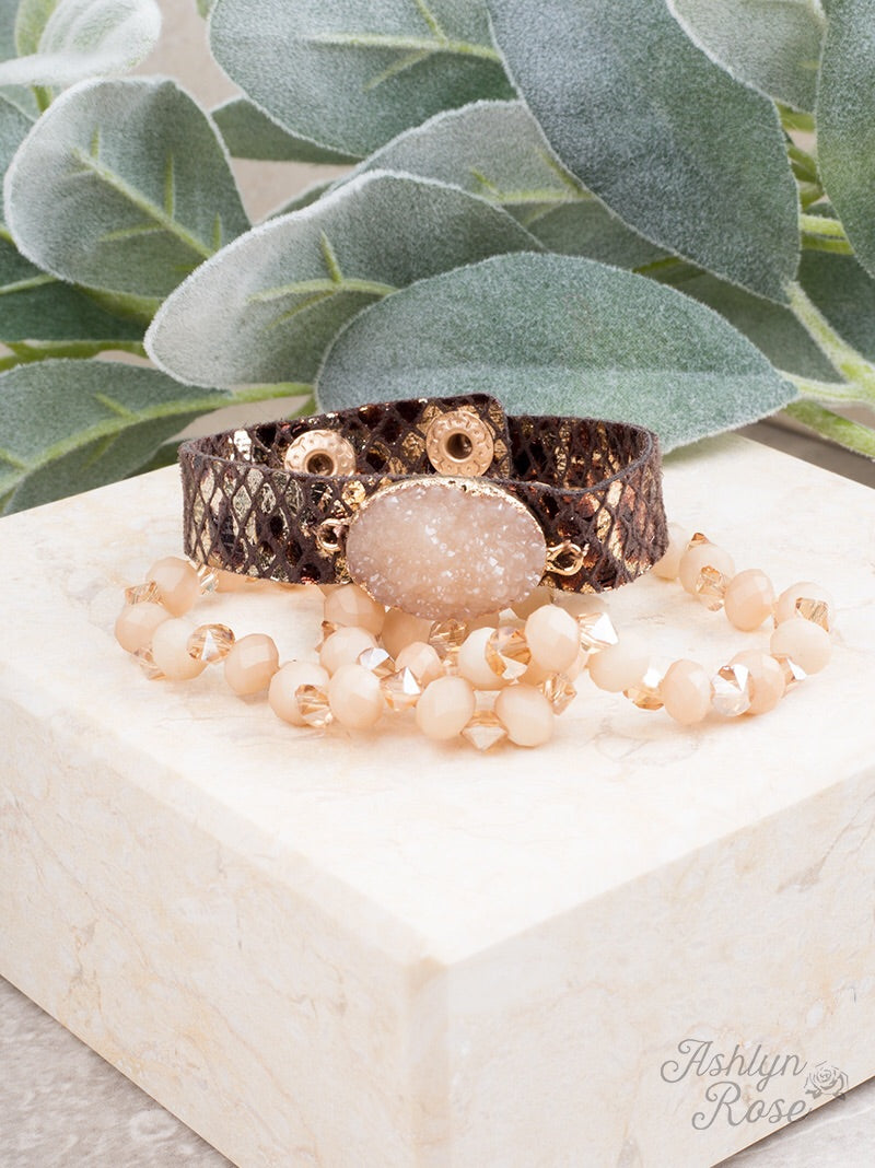 Changing Leaves Druzy Bracelet Set