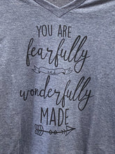 Load image into Gallery viewer, Fearfully & Wonderfully Made - Heathered Blue V Neck